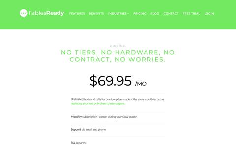 Screenshot of Pricing Page tablesready.com - Pricing - TablesReady - Waitlist App - captured Oct. 19, 2018