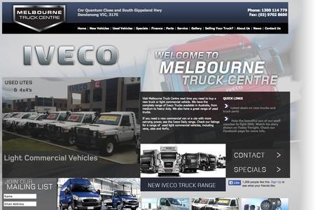 Screenshot of Home Page melbournetruckcentre.com.au - New Trucks Melbourne | Iveco Trucks | Truck Parts | Home - captured Sept. 30, 2014