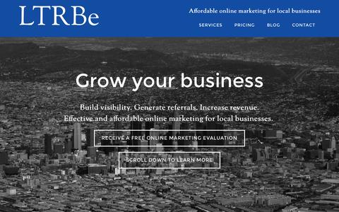Screenshot of Home Page ltrbe.com - LTRBe - Affordable online marketing for local businesses - captured June 17, 2015