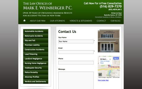 Screenshot of Contact Page mewlaw.net - Contact Us | Mark Weinberger - captured Oct. 27, 2014