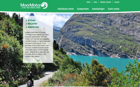 Screenshot of Home Page moormotor.nl - Unieke motorreizen in Europa: rijden, beleven, genieten! - captured Jan. 10, 2016