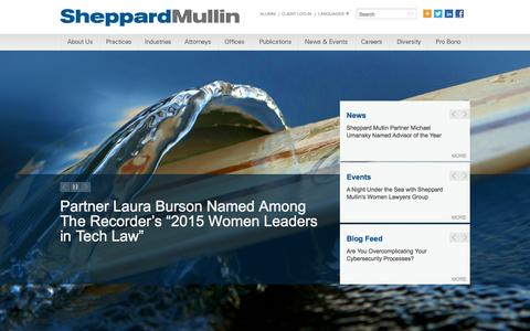 Screenshot of Home Page sheppardmullin.com - Sheppard, Mullin, Richter & Hampton LLP - captured Nov. 2, 2015