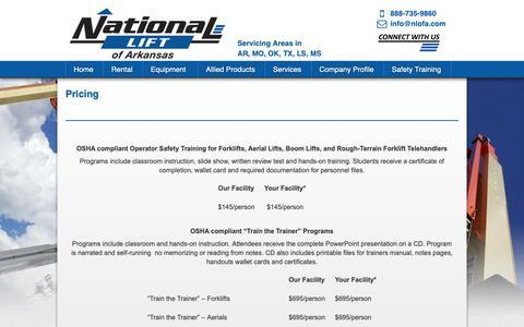Screenshot of Pricing Page nlofa.com - NLA, Forklift Training, Forklift Sales, Boom Lift Rental, Sales, Scissor Lift Rental, Sales, AWP Rental, sales, Telehandler, Sale, Service, Parts - captured Dec. 21, 2018