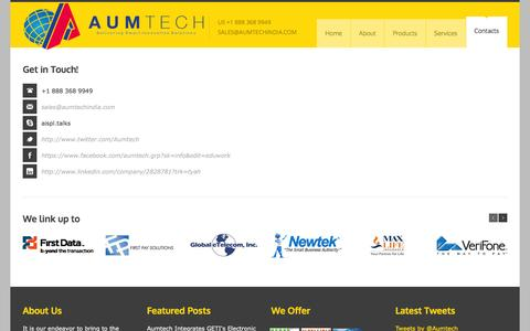 Screenshot of Contact Page aumtechindia.com - Aumtech-Delivering Smart Innovative Solutions - captured Feb. 6, 2016
