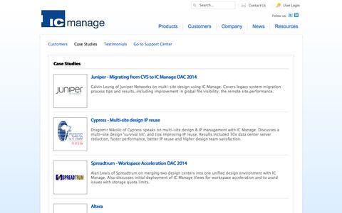 Screenshot of Case Studies Page icmanage.com - IC Manage::Case Studies - captured Sept. 29, 2014