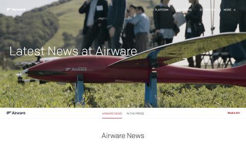 Screenshot of Press Page airware.com - News   Airware - captured July 16, 2015