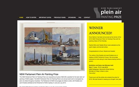 Screenshot of Home Page pleinair.com.au - NSW Parliament Plein Air Painting Prize – Plein Air - captured Sept. 21, 2015