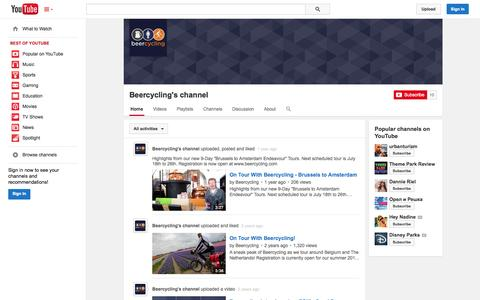 Screenshot of YouTube Page youtube.com - Beercycling's channel  - YouTube - captured Oct. 31, 2014