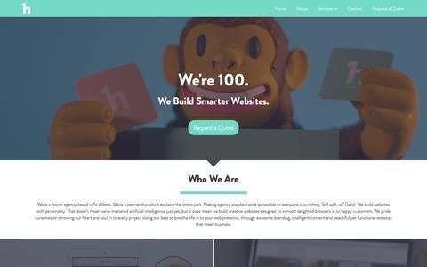 Screenshot of Home Page 100.agency - Responsive Web Design   St Albans   SEO   Logo Design   100 Agency - captured Feb. 27, 2016