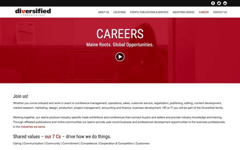 Screenshot of Jobs Page divcom.com - Careers - Diversified Communications - captured Oct. 9, 2018