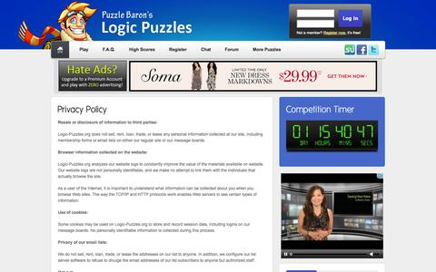 Screenshot of Privacy Page logic-puzzles.org - Logic Puzzles - Privacy Policy - captured Oct. 30, 2014