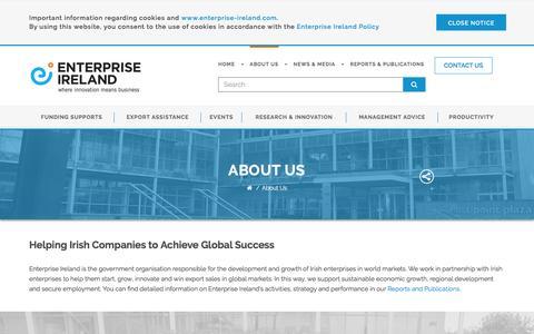 Screenshot of About Page enterprise-ireland.com - About Us - Enterprise Ireland - captured Nov. 8, 2016