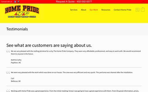 Screenshot of Testimonials Page homepride.net - Home Pride Contractors  | Testimonials - captured Nov. 2, 2014