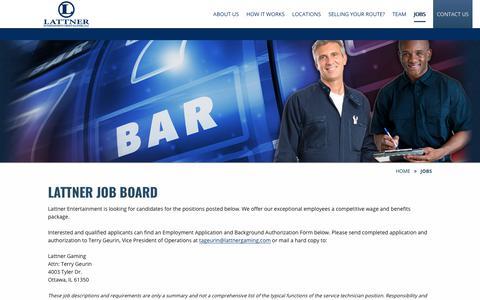 Screenshot of Jobs Page thebestvgts.com - Lattner Job Board | Lattner Entertainment Group - captured Sept. 27, 2018