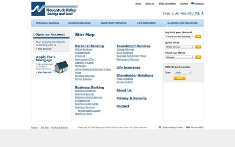 Screenshot of Site Map Page nvsl.com - Naugatuck Valley Savings and Loan - captured Oct. 7, 2014
