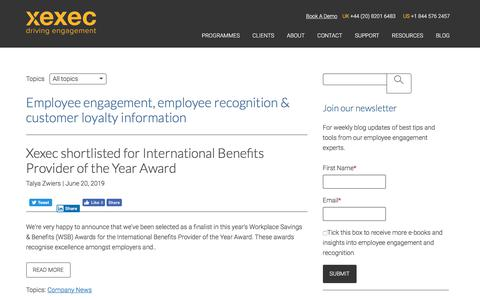 Screenshot of Press Page xexec.com - Xexec Blog, Employee Benefits & Customer Loyalty News | Company News - captured July 8, 2019