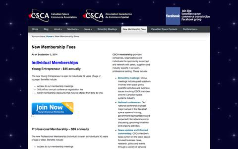 Screenshot of Signup Page spacecommerce.ca - Canadian Space Commerce Association – An Industry Group to Promote and Support Canadian Businesses |   New Membership Fees - captured Oct. 1, 2014