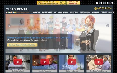Screenshot of Home Page cleanrental.com - Uniform Rental | Uniform Design | Uniform Cleaning | Clean Rental - captured Sept. 30, 2014