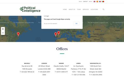 Screenshot of Contact Page political-intelligence.com - Contact - Public Affairs, Consultancy and Lobbying - Political Intelligence - captured Jan. 23, 2019