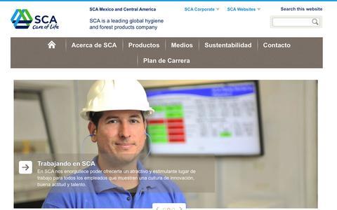 Screenshot of sca.com - Inicio - SCA Corporate - captured March 20, 2016