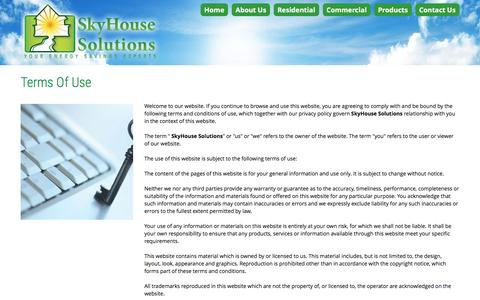 Screenshot of Terms Page skyhousesolutions.com - Terms Of Use | If you continue to browse and use this website, you are agreeing to comply with and be bound by the following terms and conditions of use, which together with our privacy policy govern <strong>SkyHouse Solutions</strong> relationship w - captured Feb. 22, 2016