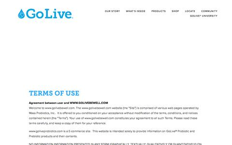 Screenshot of Terms Page golivebewell.com - Terms of use — GoLive - captured Nov. 27, 2016