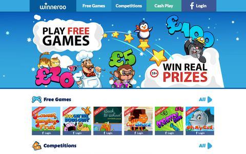 Screenshot of Home Page winneroo.co.uk - Play Free Games - Win Real Prizes - Winneroo - captured Sept. 20, 2018