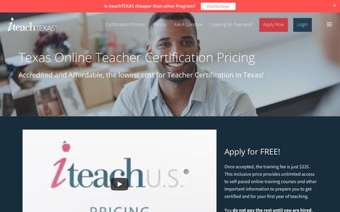 Screenshot of Pricing Page iteach.net - Affordable, Accredited Online Texas Teacher Certification Pricing - captured Oct. 13, 2018