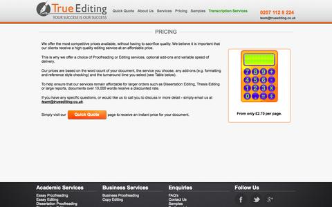 Screenshot of Pricing Page trueediting.co.uk - True Editing - Pricing - captured Oct. 9, 2014