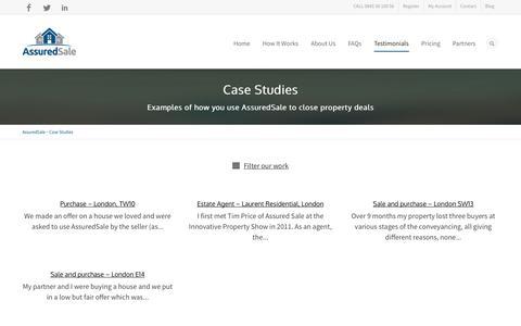 Screenshot of Case Studies Page assuredsale.com - Case Studies - AssuredSale in action - captured Oct. 4, 2014