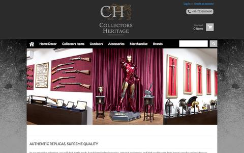 Screenshot of Home Page collectorsheritage.com - Collectors Heritage : Knives, Replica Guns, Artificial Jewellery, Swords & Statues for Home Decor - captured Sept. 19, 2014