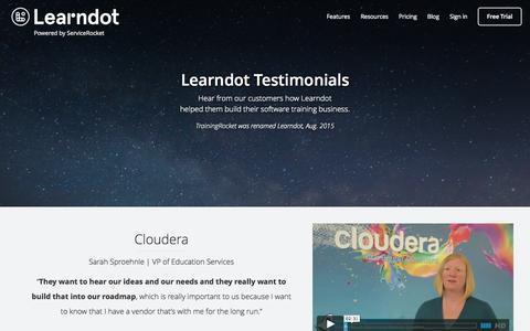 Screenshot of Testimonials Page learndot.com - Testimonials | Learndot Customer Education LMS - captured Nov. 18, 2015