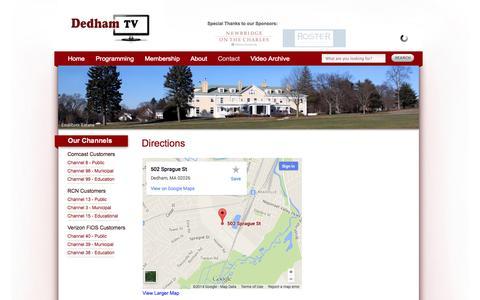 Screenshot of Maps & Directions Page dedhamtv.org - Directions «  Dedham TV - captured Oct. 5, 2014