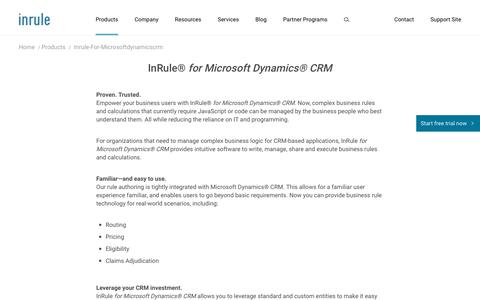 Microsoft Dynamics CRM Business Rules Engine | InRule
