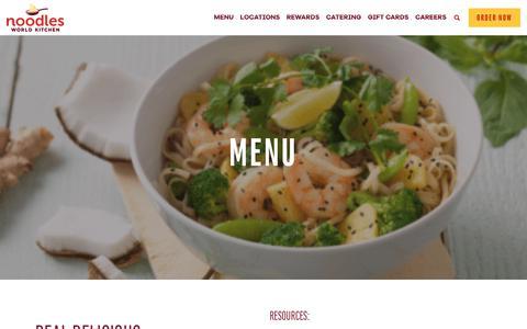 Screenshot of Menu Page noodles.com - Menu ~ Noodles World Kitchen - captured May 25, 2018