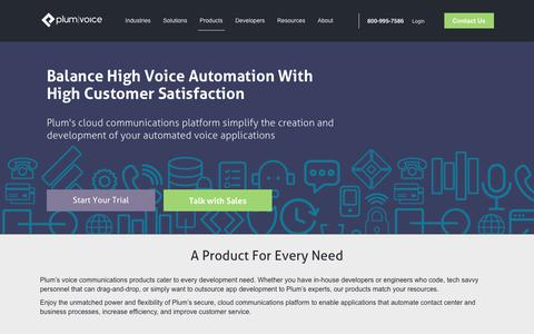 Screenshot of Products Page plumvoice.com - The Complete Voice Automation Suite - IVR, SMS | Plum Voice - captured July 19, 2018