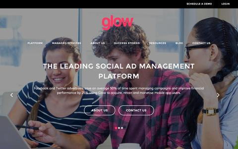 Screenshot of Home Page thisisglow.com - Homepage • Glow - captured Sept. 19, 2015