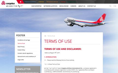 Screenshot of Terms Page cargolux.com - Terms of use          - Cargolux - captured Sept. 27, 2018