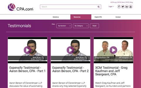 Screenshot of Testimonials Page cpa.com - Videos   CPA.com - captured Feb. 20, 2018