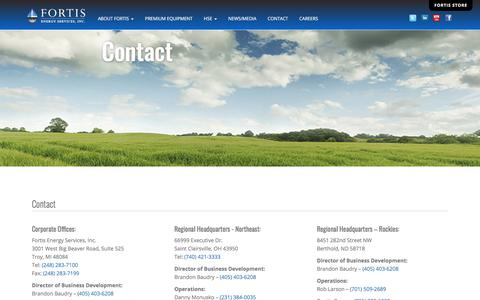 Screenshot of Contact Page fortisenergyservices.com - Fortis Energy Services, Inc. | Contact - captured July 13, 2019