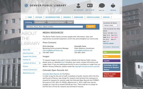 Screenshot of Press Page denverlibrary.org - Media Resources | Denver Public Library - captured Feb. 4, 2016