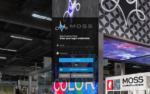 Screenshot of Login Page mossinc.com - Login | Moss Web Portal - captured Jan. 23, 2018