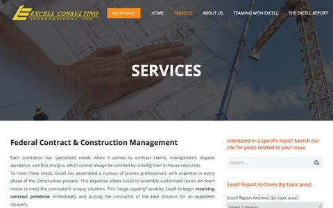 Screenshot of Services Page excellconsulting.net - Construction Management Professional Services | Excell Consulting - captured Sept. 30, 2018