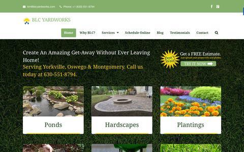 Screenshot of Home Page blcyardworks.com - Yorkville Landscaping Companies | BLC Yardworks - captured Dec. 28, 2015