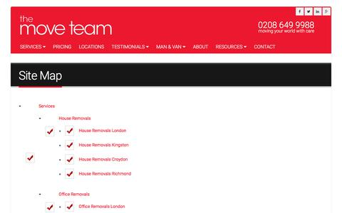 Screenshot of Site Map Page themoveteam.co.uk - Site Map   The Move Team - captured June 17, 2017
