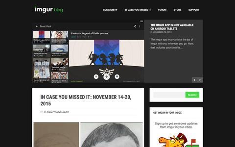 Screenshot of Blog imgur.com - The Imgur Blog - captured Dec. 1, 2015