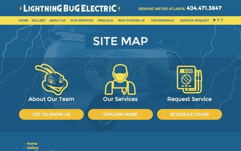 Screenshot of Site Map Page lightningbugelectric.com - Site Map | Electrician in Marietta - captured Dec. 10, 2015