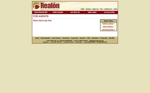 Screenshot of Login Page realonhomes.com - Realon Real Estate Agent Login Area - captured Oct. 7, 2014