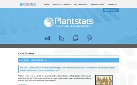 Screenshot of Case Studies Page plantstats.co.uk - Plantstats | Case Studies using our cost reduction technology - captured Sept. 28, 2018