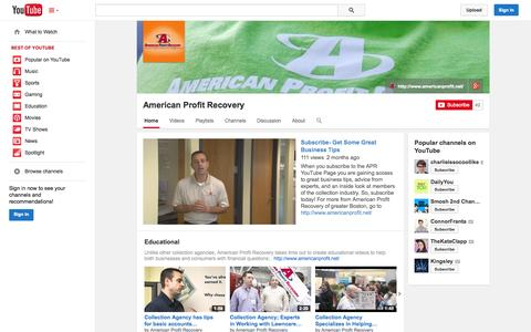 Screenshot of YouTube Page youtube.com - American Profit Recovery  - YouTube - captured Oct. 23, 2014